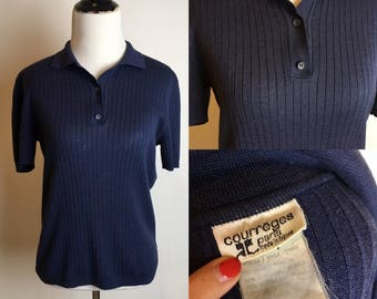 S/M 1970s Courreges Knit Polo Top