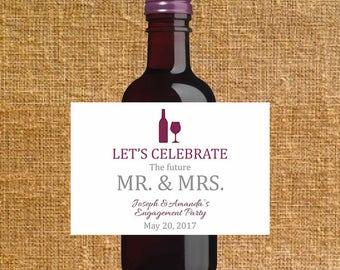 Customized Mini Wine Bottle Label - Digital File