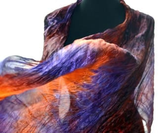 "scarf hand painted big scarf orange purple scarf Falten hand-painted silk size 70 "" by 35 "" (180cm by 90cm) orang scarf silk gift for womans"