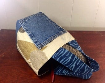 Project Bag, Bucket style, Earth Tone Pattern, from Upcycled jeans & Upholstery fabric samples