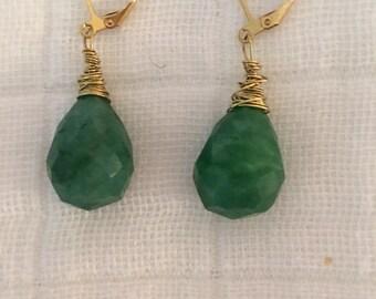 Brazilian emerald earrings