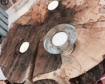 Wooden Rustic Tree Slice Candleholder