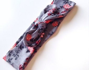 Knotted Headband, Adjustable Turban Headband, Gray Floral Headband, Girls Headband, Stretchy Headband, Newborn Headband, Soft Headband