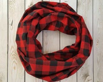 Black and Red Buffalo Plaid Infinity Scarf, Flannel Eternity Scarf, Warm Scarf, Circle Scarf, Loop Scarf