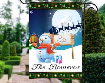 Christmas Snowman Garden Flag, Christmas Garden Flag,  Christmas Yard FLag, Snowman Christmas Flag, Housewarming Gift, Christmas Decorations