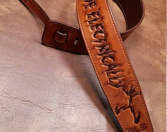 Leather Guitar Strap- 'LIVE ELECTRICALLY' - Functional Art - Help design your strap - clbLeatherDesign