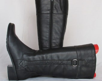 SALE INTO SPRING Size 8 Black Leather Boots, Tall Leather Zipper Boots, Leather Fashion Boots, Leather Snow Boots, Riding Boots, Size 6 Uk,