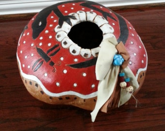 Gourd Native American Indian art inspired Painted gourd Carved gourd bowl