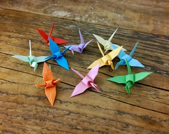 Origami Paper Crane 20 Multicoloured Birds  - Rainbow Peace Cranes - Folded Paper Birds - Rainbow Origami Bird - Wedding Favour -