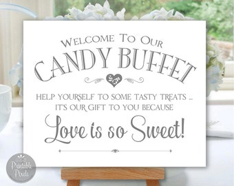 Candy Buffet Printable Wedding Sign, Grey Matte/Faux Silver, Choose Your Size (#CBU1A)
