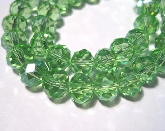 50pcs Green Faceted Rondelle Glass Crystal Beads 8x6mm ( No. GR8)
