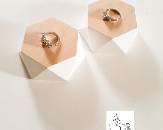 Mini jewelry display set 2 piece for craftshow or shopwindow handmade beechwood seperate wooden segments white edge wood