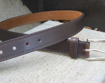 Mens Used Brown Leather Belt 38 - Nice!