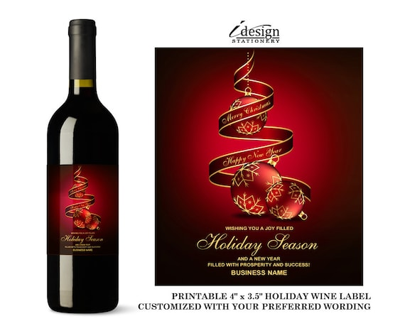 Items similar to Elegant Corporate Holiday Wine Labels ...