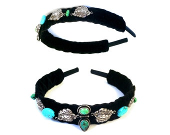 GILDED-MANE Genuine Turquoise & Sterling Silver Headband