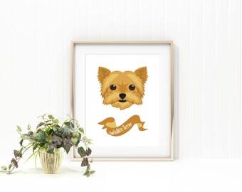 Yorkshire terrier dog print/ yorkie dog print/pet print/pet name print/custom pet print/ custom dog print/pet name art/ puppy print