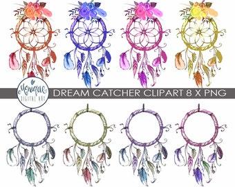 Dreamcatcher Clipart, Geburtstag, Einladung, Bunt, Federn, Planer  Aufkleber, Planer Mädchen