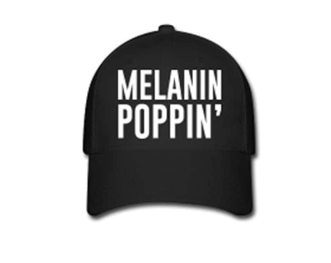 Melanin Poppin' Flex Fit Baseball Cap - Black