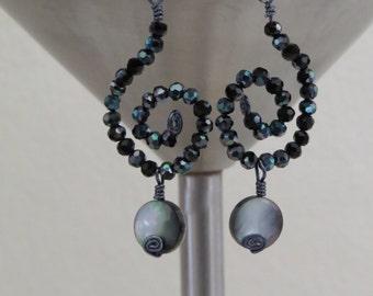 Iridescent Black Swirl Earrings