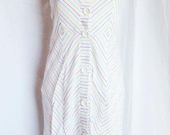 Dress vintage suspenders, white background, multicolored stripes, T F 36 / 38, UK 8, US 27 / 10.