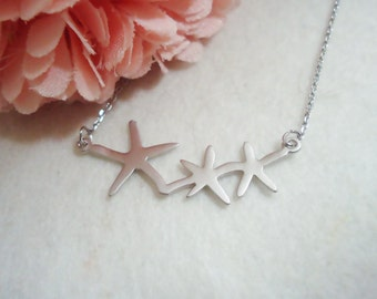 488. Starfish Necklace, Three Star Necklace,  Three Silver color Star Pendant Necklace, Gold Star Trio Pendant Necklace, Gift for Friend