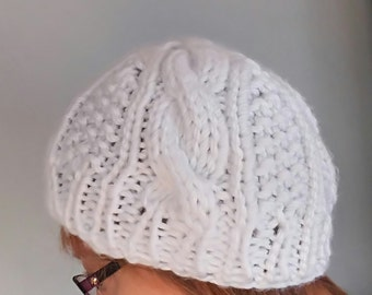 White Cable Winter Hat