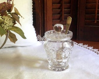 Heavy crystal condiment jar.  Perfect for jam or lemon curd at your tea table