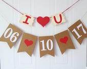 Save the date bunting, wedding date, photo prop, engagement decor