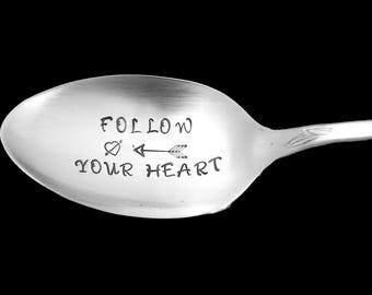 Stamped Spoon Follow Your Heart Vintage Engraved Silverware Hand Stamped Flatware  Inspirational Graduation Gifts Under 15 Arrow Stamp