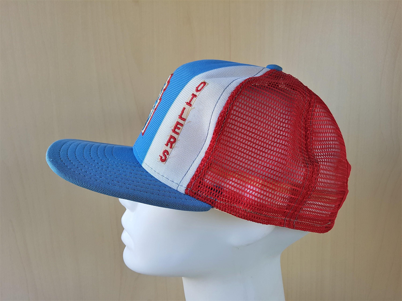 52e87a3c283 HOUSTON OILERS Vintage 80s  Lucky Stripes  AJD Trucker Hat Snapback Mesh  Football Baseball Cap