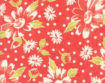 Coney Island Fabric by Fig Tree & Co., #20280-12 One Yard, Moda Fabrics, Coral, Candy Apple Red, Floral, Flowers, IN STOCK
