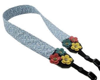 DSLR Camera Strap. Floral Camera Strap. Cute Camera Strap - Light Blue Floral Fabric With Leather Flowers