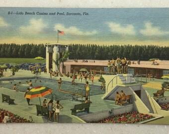 Vintage Postcard Sarasota Fl Lido Beach Casino and Pool 1951 Linen