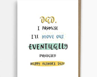 Fathers Day Card, unique, funny card, card for dad, move out