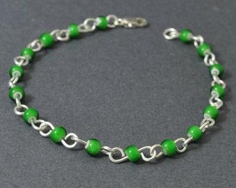 Green Glass Bracelet, Christmas Bracelet, Czech Glass Bracelet, Handmade Links, Sterling Silver Bracelet
