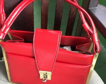 Vintage Red Patent Leather Handbag Purse with Gold Tone Metal Accent