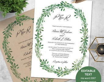 Greenery wedding, greenery invitation, printable, invitation templates, Greenery wedding invitation, DIY, GDN4