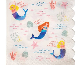 Meri Meri Large Mermaid Napkins (set of 16), Let's Be Mermaids Holographic Napkins, Under the Sea Birthday, Little Mermaid Party
