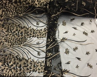 Black gold Metallic Spring Design Embroider On a Mesh Prom -sold by yard