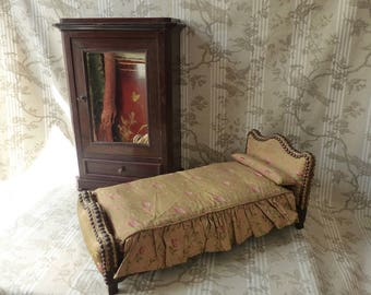 Antique French Doll's Bed & Wardrobe - Toy Furniture - French Dolls Bed - French Toy Armoire - Miniature Furniture - Meuble de Maitrise