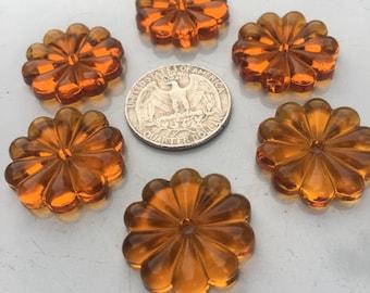 German Glass Rosette Beads- RARE 1930s HONEY AMBER