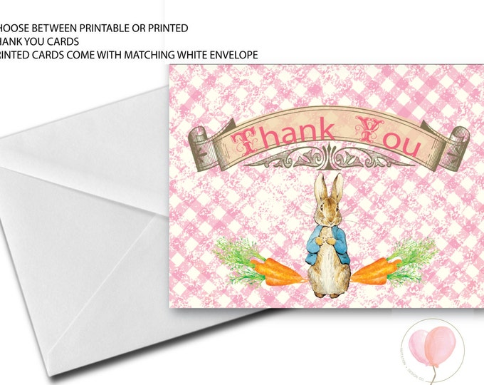 Peter Rabbit Thank You Card // Folded Thank You // Peter Rabbit // Pink // Gingham // Vintage // Girl // Printed // NASHVILLE COLLECTION