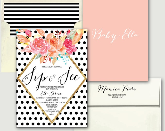 Black Polka Dot Sip and See Invitation // Baby Shower Invitation // black and white // blush pink // gold glitter // RALEIGH COLLECTION