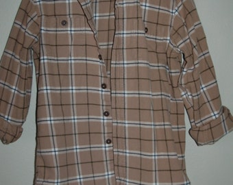 Flannel Shirt  Recycled with Lace Tan Women's small