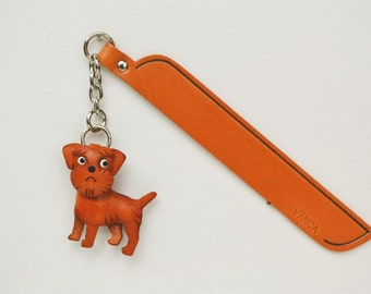 Border terrier Leather dog Charm Bookmark/Bookmarks/Bookmarker *VANCA* Made in Japan #61793 Free Shipping