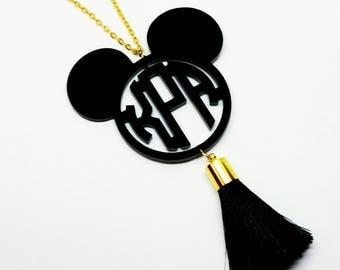 "XXL 3"" Black Acrylic Monogram Mickey Mouse Necklace with Black Tassel"