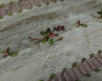 18th century silk dress fabric fragment, 1700s fabric, striped floral fabric, pink, white, green