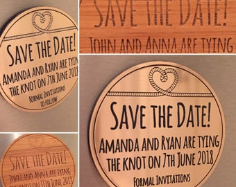 Personalised engraved save the date magnets in wood or metallic