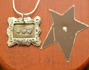 Three Hearts in a Fine Silver Frame on a Sterling Silver Snake Chain | Precious Metal Clay