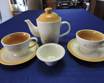 "Tim Hortons ""Tea For Two""  Collection Tea Pot w/ Tea Cups and Saucers - VERY NICE"